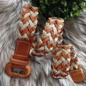 Eddie Bauer Block Color Brown cream Leather Belt